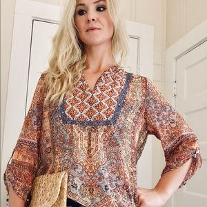 "Multicolored Paisley Print Top by ""New Directions"""